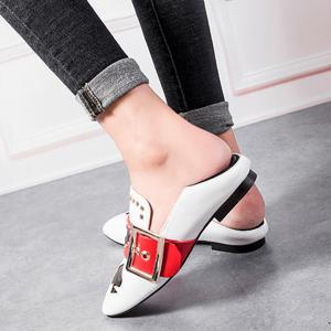 Heart Buckled Studded Slip On Flats - WHITE 39