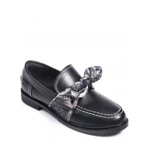 Bow PU Leather Stitching Flat Shoes - Black - 39
