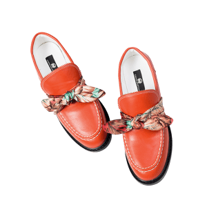 Bow PU Leather Stitching Flat Shoes - RED 39