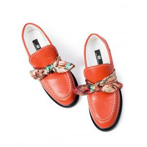 Bow PU Leather Stitching Flat Shoes - Red - 38