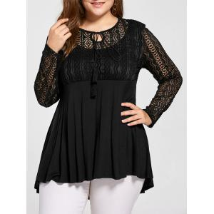 Plus Size Lace Trim Peplum Top