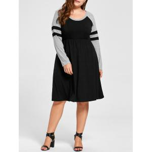 Plus Size Long Sleeve Jersey Dress - Black - 5xl