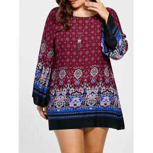 Plus Size Bell Sleeve Mini Bohemian Dres - Red - Xl