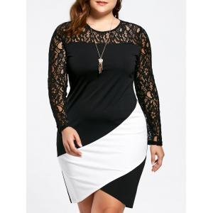Plus Size Long Sleeve Lace Panel Asymmetric Dress - White And Black - Xl