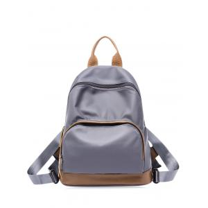 Color Block Nylon Zippers Backpack - Gray