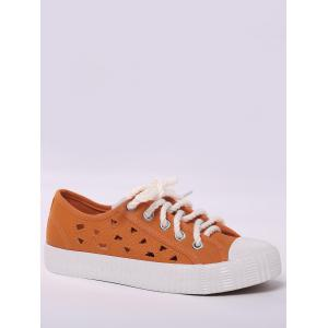 Hollow Out Canvas Athletic Shoes - Orange - 40