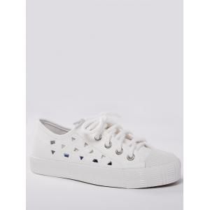 Hollow Out Canvas Athletic Shoes - White - 38