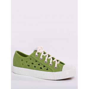 Hollow Out Canvas Athletic Shoes - Green - 38