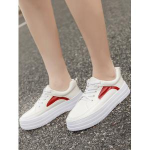 Colour Block PU Leather Athletic Shoes - RED WITH WHITE 37