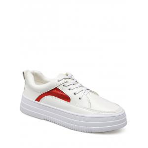 Colour Block PU Leather Athletic Shoes - Red With White - 39