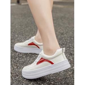 Colour Block PU Leather Athletic Shoes - RED WITH WHITE 39