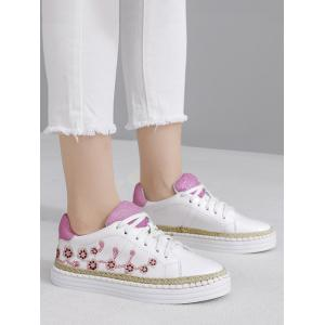 Embroidery Faux Leather Athletic Shoes - PINKISH PURPLE 37