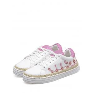 Embroidery Faux Leather Athletic Shoes - PINKISH PURPLE 38