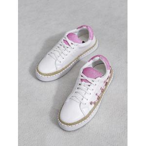 Embroidery Faux Leather Athletic Shoes - PINKISH PURPLE 39