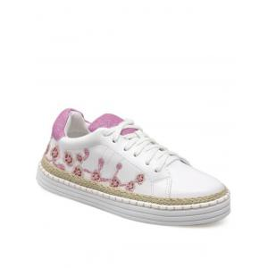 Embroidery Faux Leather Athletic Shoes - Pinkish Purple - 39