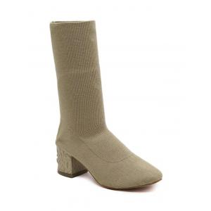 Round Toe Mid Heel Boots - Apricot - 38