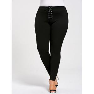 Skinny Plus Size Lace Up Leggings