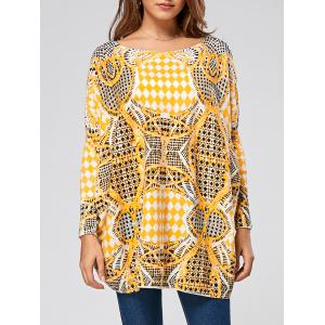 Pullover Geometric Pattern Drop Shoulder Sweater
