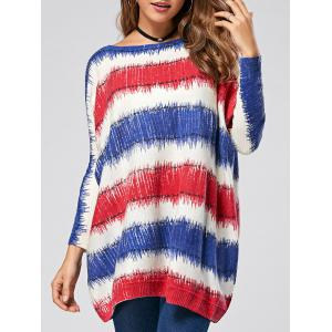 Pullover Color Lump Drop Shoulder Ribbed Sweater