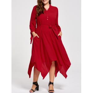 Plus Size Long Sleeve Midi Handkerchief Dress