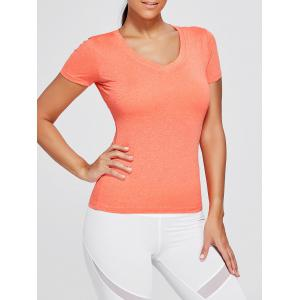 Breathable Marled V Neck Sports T-shirt