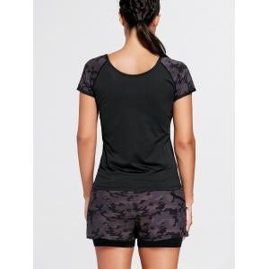 Camouflage Sports Short Sleeve Raglan Tee - Noir 2XL