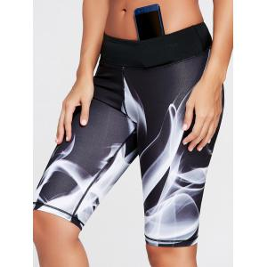 Sports Lights Pattern Bermuda  Leggings - Black - Xl