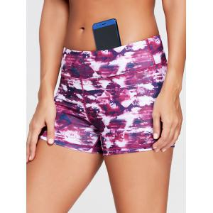 Tie Dye Stretch Mini Workout Shorts - Tutti Frutti - Xl