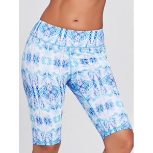 Tribal Printed Sports Bermuda Tight Shorts - Bleu S