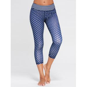 High Waist Patterned Capri Funny Gym Leggings - DEEP BLUE S