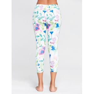 Flower Printed Capri Workout Tights - WHITE S