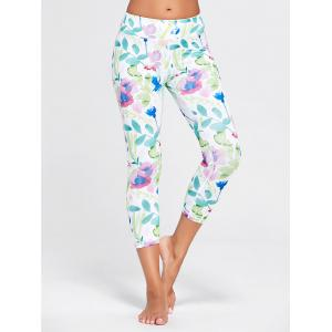 Flower Printed Capri Workout Tights - White - Xl