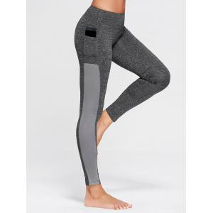 Stretchy Side Pocket Workout Leggings - Gray - Xs