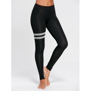 High Waist Stripe Panel Running Leggings - Black - L