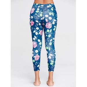 Rose Floral Print Sports Leggings - BLUE S