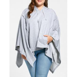Plus Size Cloak Handkerchief Hem Hoodie - Light Gray - One Size