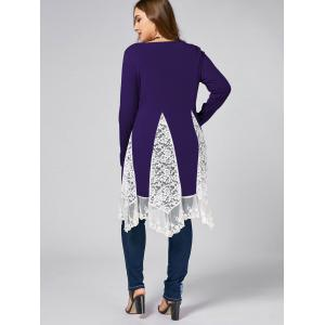Plus Size Lace Trim  Swing Long Sleeve T-shirts -