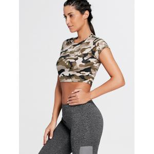 Sports Camouflage Crew Neck Ripped Crop T-shirt - ARMY GREEN CAMOUFLAGE M
