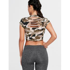 Sport Camouflage Crew Neck Ripped Crop T-shirt -