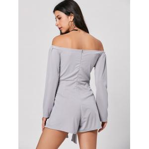 Belted Long Sleeve Off Shoulder Romper - GRAY S