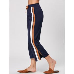 Casual Double Striped Drawstring Pants - Cadetblue - S