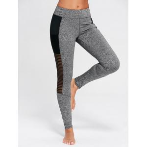 Voir à travers les collants de fitness en maille mous - Gris S