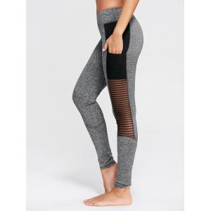 See Through Mesh Panel Fitness Tights - Gray - Xl
