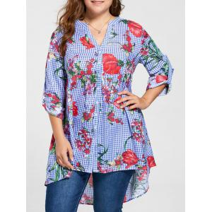 Plus Size Floral Babydoll Blouse - Blue - 4xl