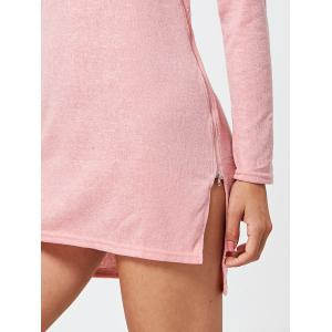 Long Sleeve Sweater Shift Dress with Zipper - PINK S