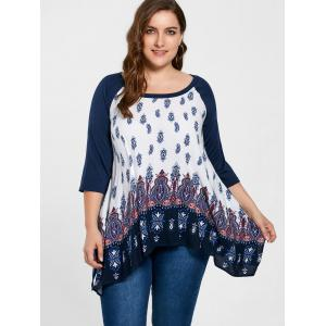 Plus Size Paisley Crescent Hem Top - PURPLISH BLUE 3XL