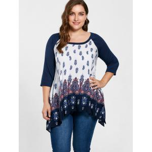 Taille grand taille Paisley Crescent Hem Top -