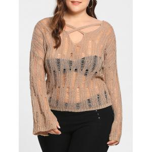 Plus Size Sheer Cutout Distressed Sweater - Apricot - One Size