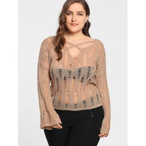 Plus Size Sheer Cutout Distressed Sweater -