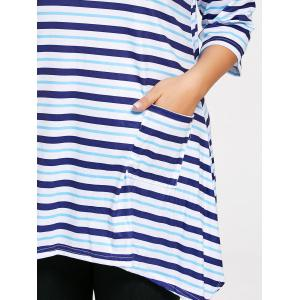 Plus Size Pocket Asymmetric Striped Tunic T-shirt - BLUE 3XL